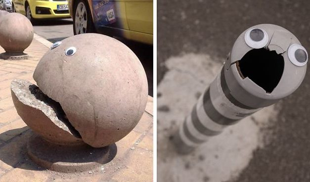 Někdo v Bulharsku lepí vykulené oči na rozbité věci na ulici a vypadá to líp, než kdyby je někdo opravil